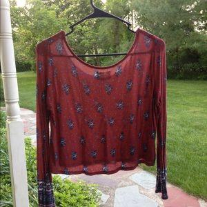 Long sleeve boho shirt - cropped